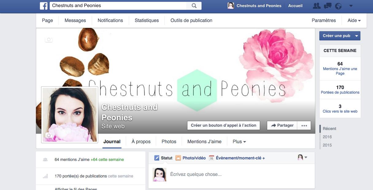 Capture d'écran de la page Facebook ChestnutsandPeonies