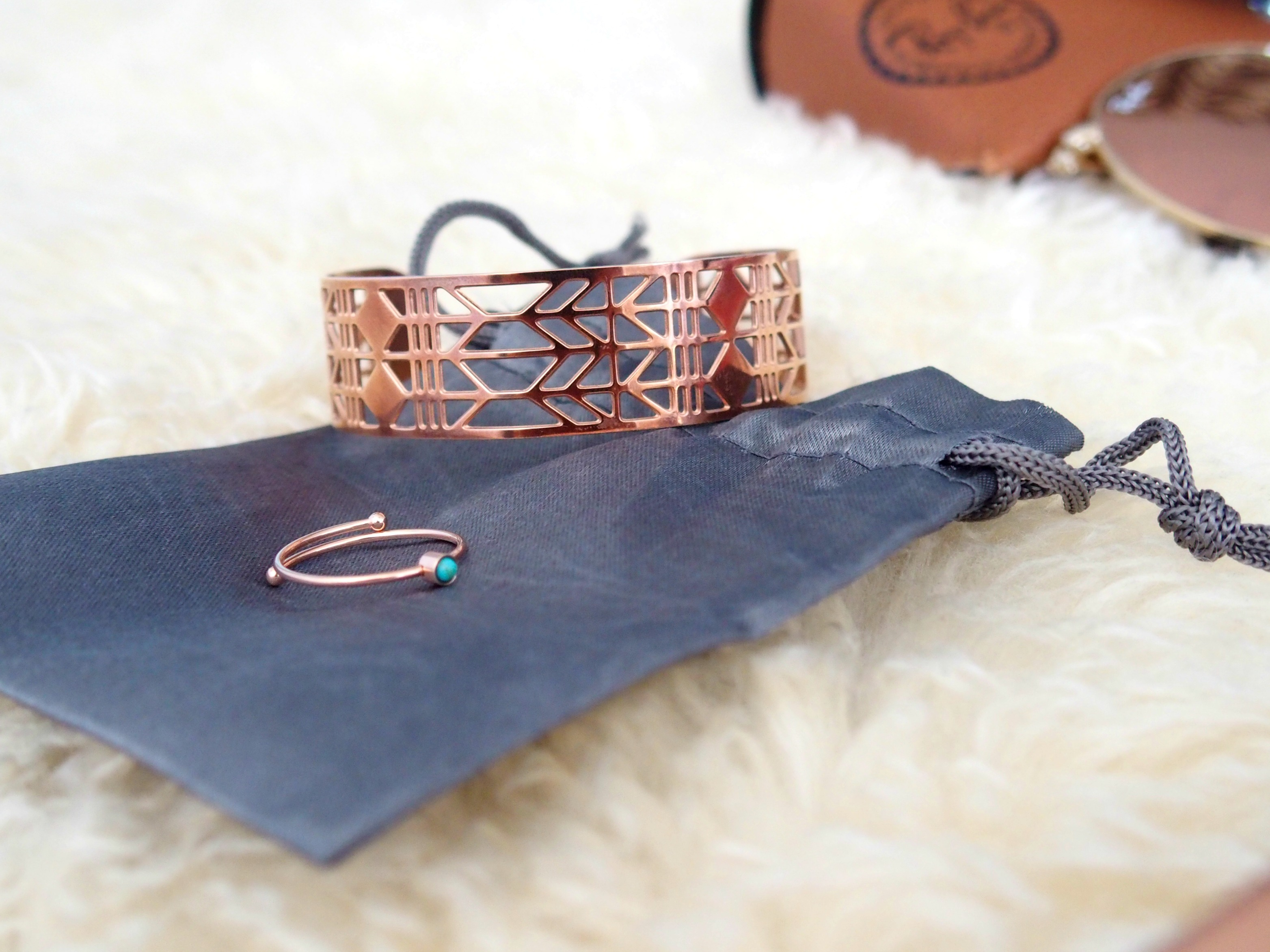 Rose Gold bracelet bague zag